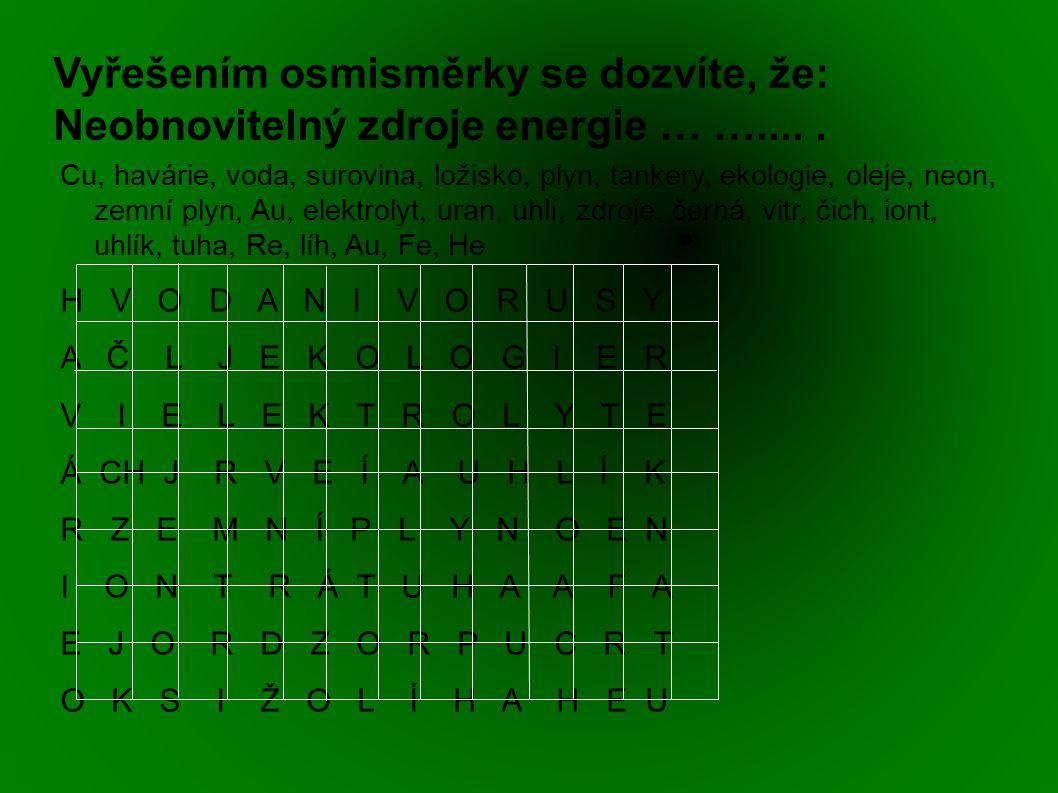 Vyřešením osmisměrky se dozvíte, že: Neobnovitelný zdroje energie … ….....