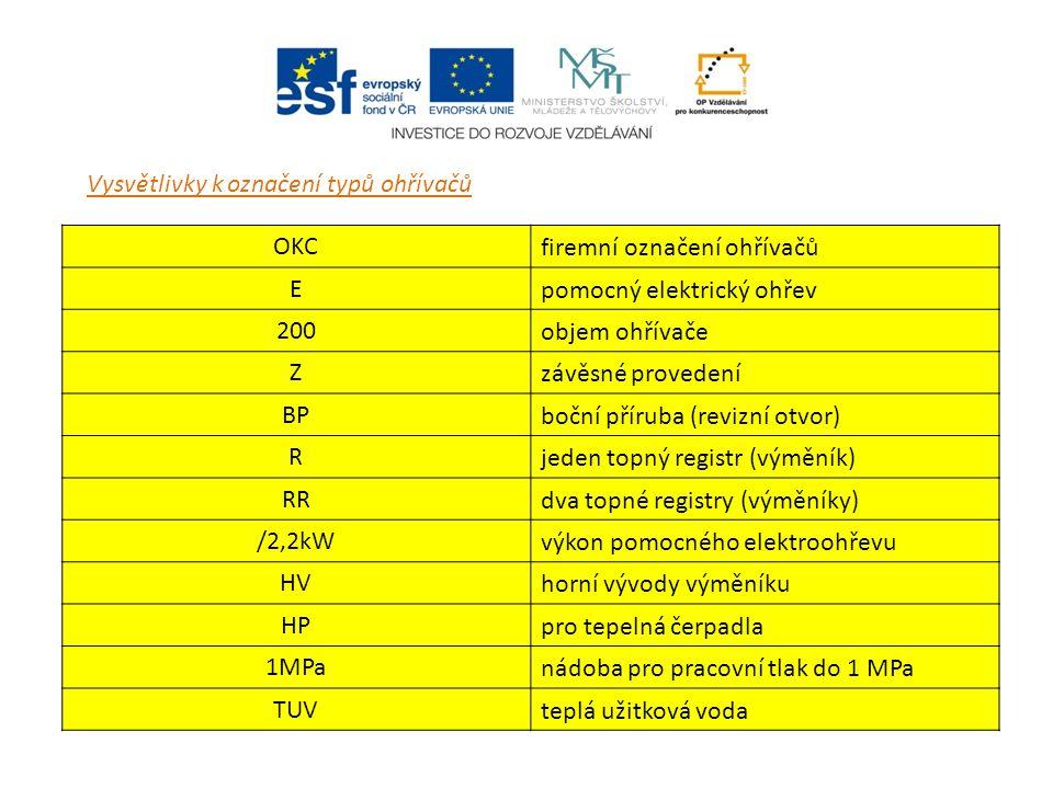 Vysvětlivky k označení typů ohřívačů OKC firemní označení ohřívačů E pomocný elektrický ohřev 200 objem ohřívače Z závěsné provedení BP boční příruba