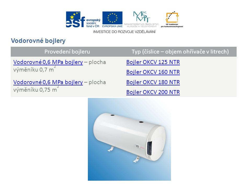Provedení bojleruTyp (číslice – objem ohřívače v litrech) Vodorovné 0,6 MPa bojleryVodorovné 0,6 MPa bojlery – plocha výměníku 0,7 m 2 Bojler OKCV 125