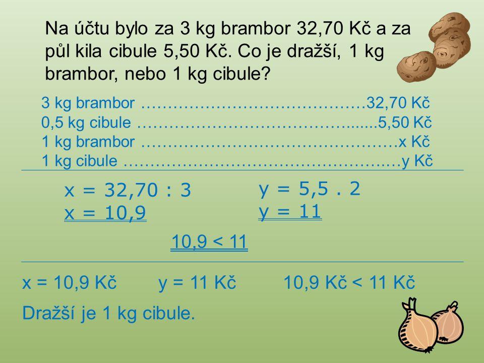 Na účtu bylo za 3 kg brambor 32,70 Kč a za půl kila cibule 5,50 Kč.