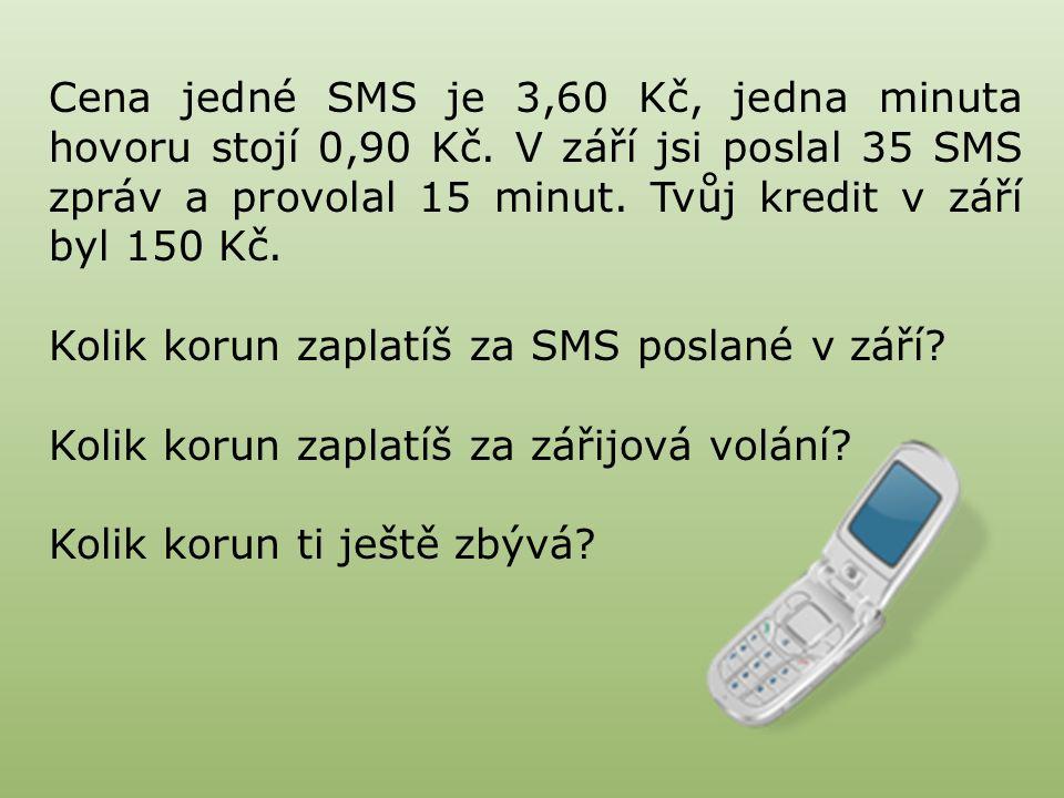 Cena jedné SMS je 3,60 Kč, jedna minuta hovoru stojí 0,90 Kč.