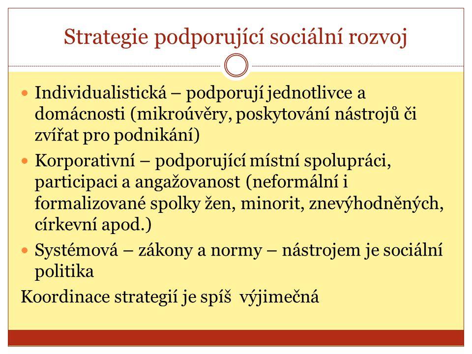 Strategie podporující sociální rozvoj Individualistická – podporují jednotlivce a domácnosti (mikroúvěry, poskytování nástrojů či zvířat pro podnikání) Korporativní – podporující místní spolupráci, participaci a angažovanost (neformální i formalizované spolky žen, minorit, znevýhodněných, církevní apod.) Systémová – zákony a normy – nástrojem je sociální politika Koordinace strategií je spíš výjimečná