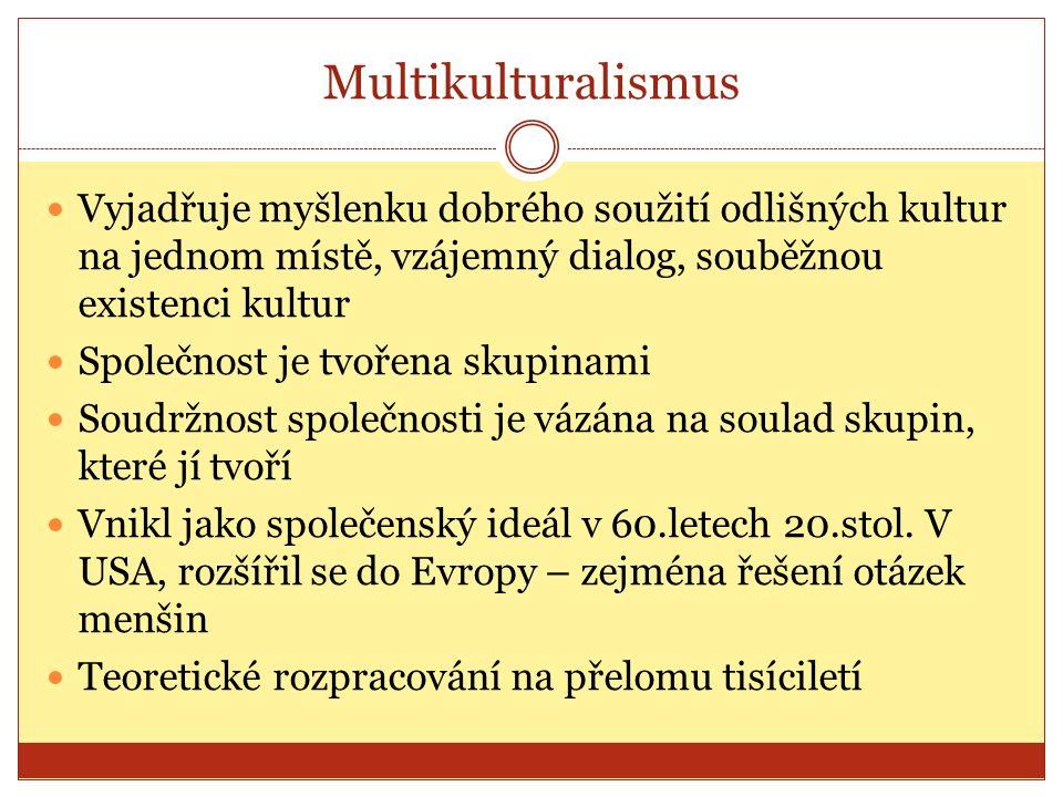 Multikulturalismus Vyjadřuje myšlenku dobrého soužití odlišných kultur na jednom místě, vzájemný dialog, souběžnou existenci kultur Společnost je tvořena skupinami Soudržnost společnosti je vázána na soulad skupin, které jí tvoří Vnikl jako společenský ideál v 60.letech 20.stol.