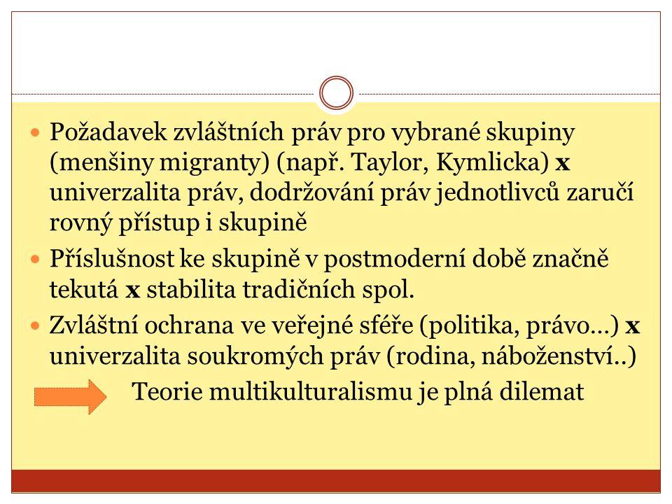 Požadavek zvláštních práv pro vybrané skupiny (menšiny migranty) (např. Taylor, Kymlicka) x univerzalita práv, dodržování práv jednotlivců zaručí rovn