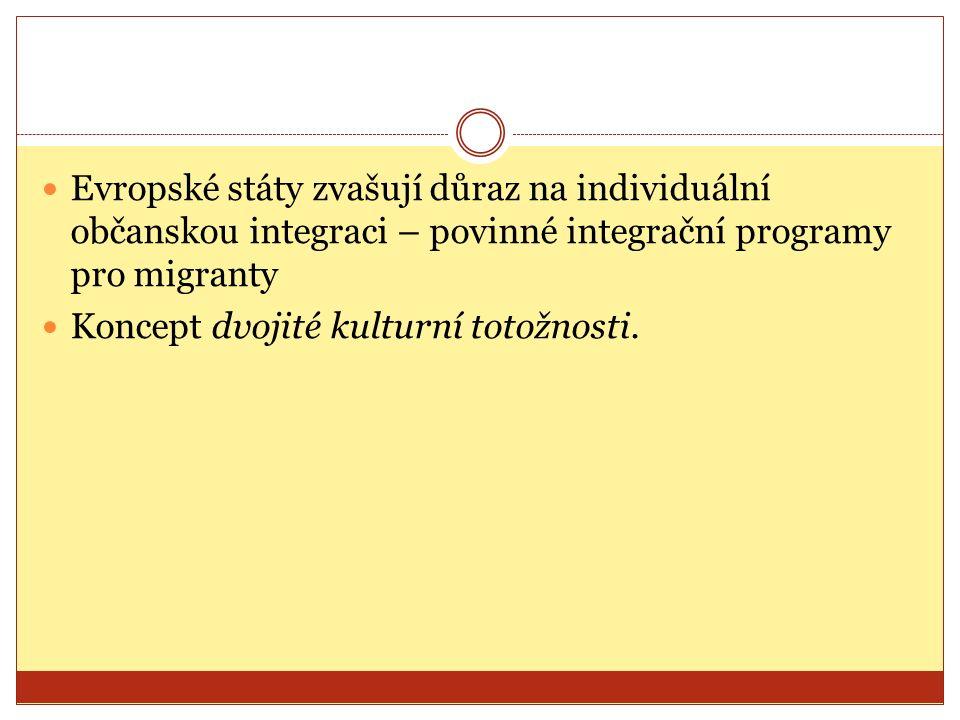 Evropské státy zvašují důraz na individuální občanskou integraci – povinné integrační programy pro migranty Koncept dvojité kulturní totožnosti.