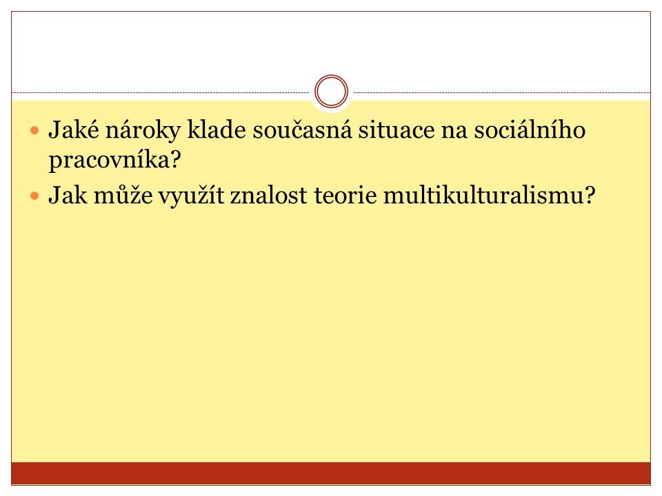 Jaké nároky klade současná situace na sociálního pracovníka? Jak může využít znalost teorie multikulturalismu?