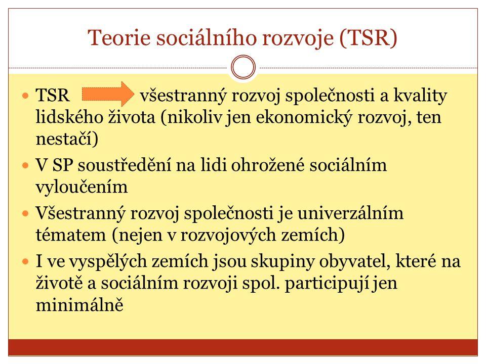 Teorie sociálního rozvoje (TSR) TSR všestranný rozvoj společnosti a kvality lidského života (nikoliv jen ekonomický rozvoj, ten nestačí) V SP soustředění na lidi ohrožené sociálním vyloučením Všestranný rozvoj společnosti je univerzálním tématem (nejen v rozvojových zemích) I ve vyspělých zemích jsou skupiny obyvatel, které na životě a sociálním rozvoji spol.