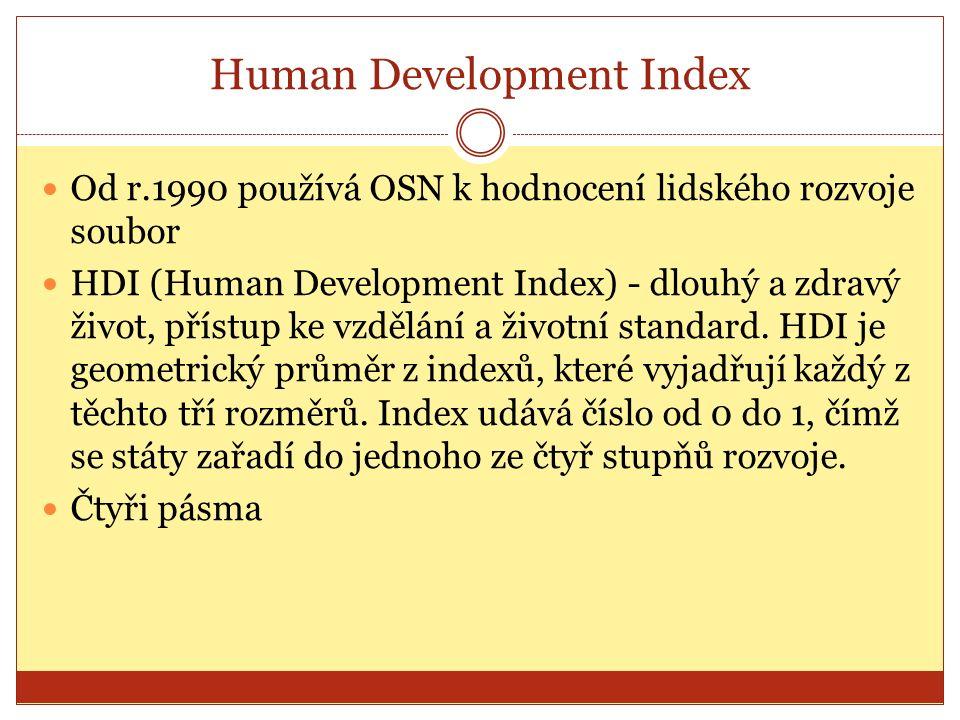 Human Development Index Od r.1990 používá OSN k hodnocení lidského rozvoje soubor HDI (Human Development Index) - dlouhý a zdravý život, přístup ke vzdělání a životní standard.