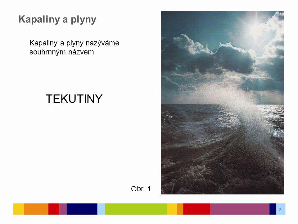 Kapaliny a plyny nazýváme souhrnným názvem TEKUTINY Kapaliny a plyny Obr. 1 2