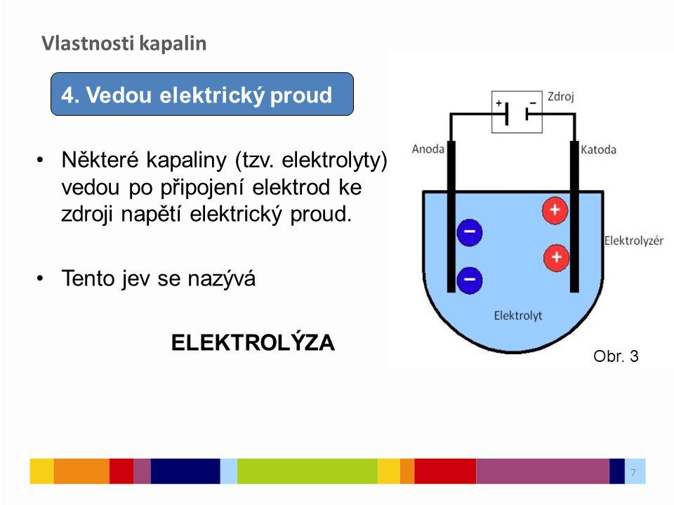4. Vedou elektrický proud Některé kapaliny (tzv. elektrolyty) vedou po připojení elektrod ke zdroji napětí elektrický proud. Tento jev se nazývá ELEKT