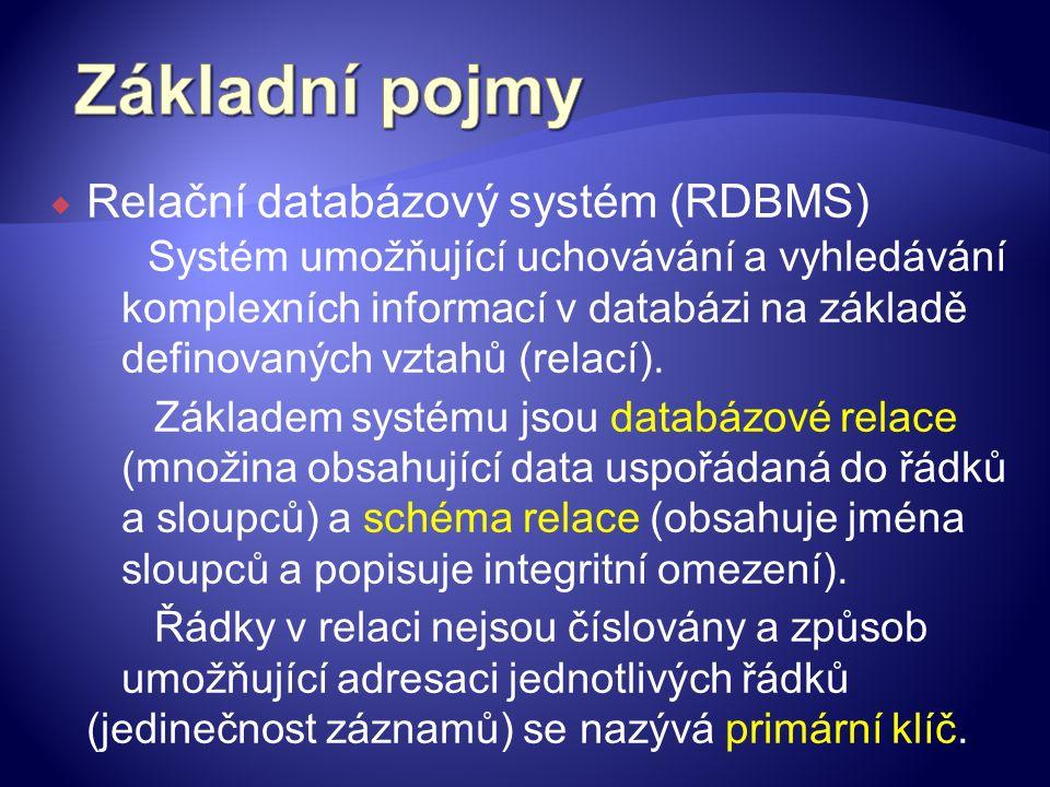  Relační databázový systém (RDBMS) Systém umožňující uchovávání a vyhledávání komplexních informací v databázi na základě definovaných vztahů (relací).