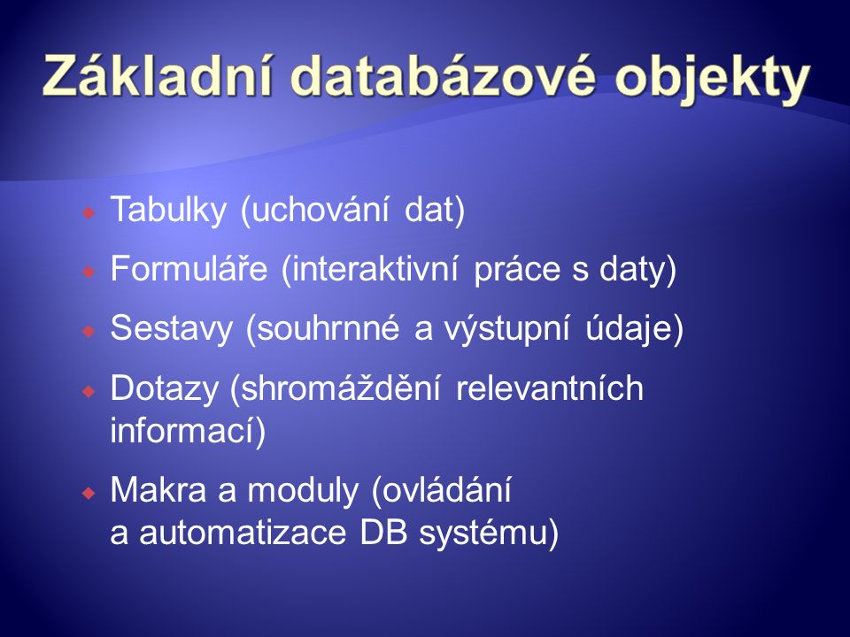  Tabulky (uchování dat)  Formuláře (interaktivní práce s daty)  Sestavy (souhrnné a výstupní údaje)  Dotazy (shromáždění relevantních informací)  Makra a moduly (ovládání a automatizace DB systému)