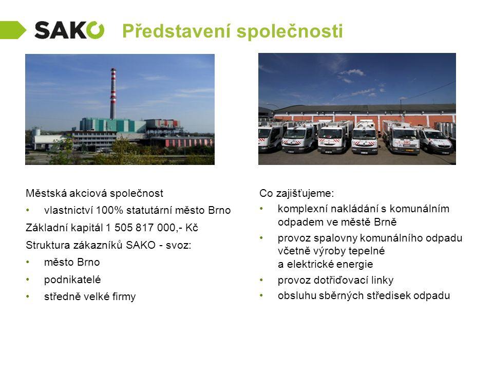Představení společnosti Městská akciová společnost vlastnictví 100% statutární město Brno Základní kapitál 1 505 817 000,- Kč Struktura zákazníků SAKO