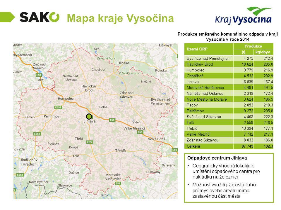 Mapa kraje Vysočina Produkce směsného komunálního odpadu v kraji Vysočina v roce 2014 Odpadové centrum Jihlava Geograficky vhodná lokalita k umístění odpadového centra pro nakládku na železnici Možnost využití již existujícího průmyslového areálu mimo zastavěnou část města Území ORP Produkce (t)kg/obyv.