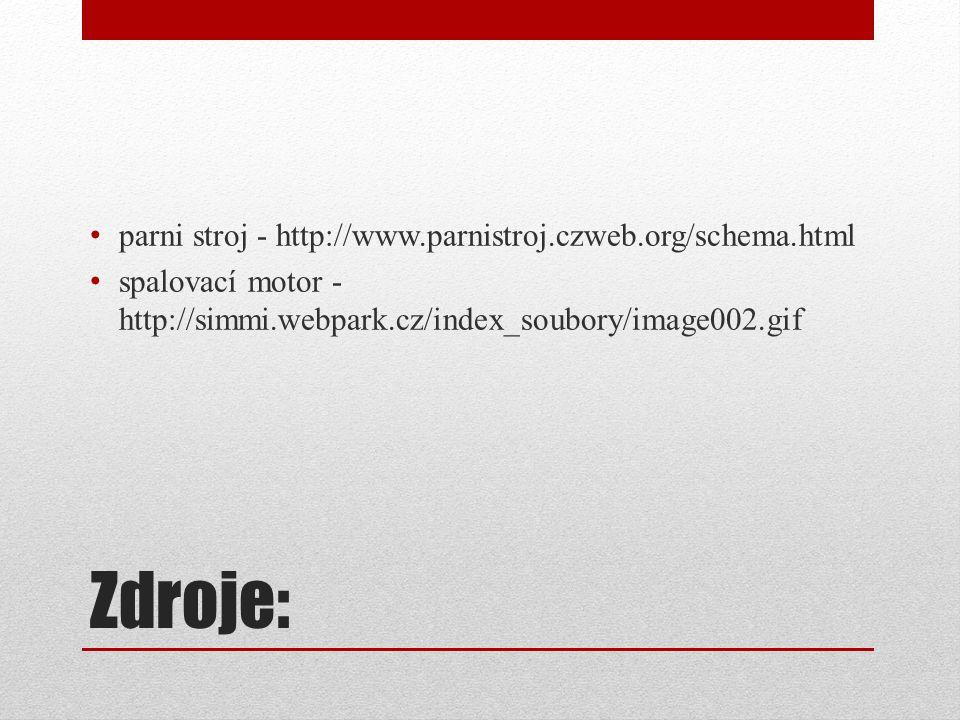 Zdroje: parni stroj - http://www.parnistroj.czweb.org/schema.html spalovací motor - http://simmi.webpark.cz/index_soubory/image002.gif