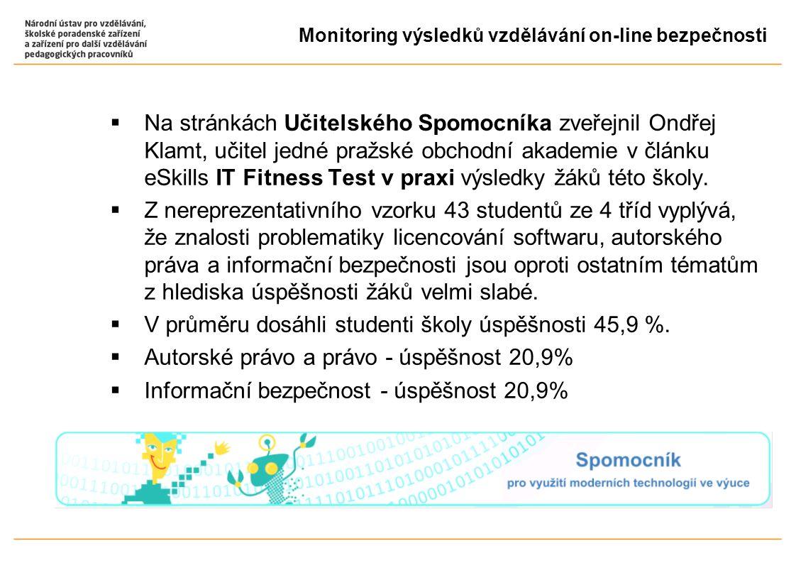  Na stránkách Učitelského Spomocníka zveřejnil Ondřej Klamt, učitel jedné pražské obchodní akademie v článku eSkills IT Fitness Test v praxi výsledky