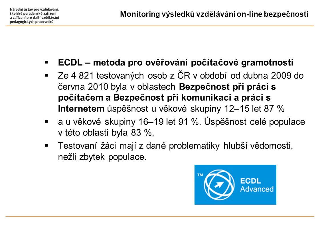  ECDL – metoda pro ověřování počítačové gramotnosti  Ze 4 821 testovaných osob z ČR v období od dubna 2009 do června 2010 byla v oblastech Bezpečnost při práci s počítačem a Bezpečnost při komunikaci a práci s Internetem úspěšnost u věkové skupiny 12–15 let 87 %  a u věkové skupiny 16–19 let 91 %.