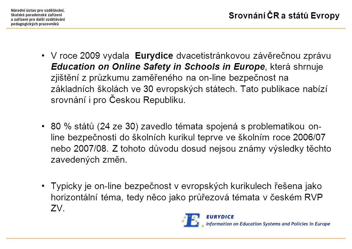Srovnání ČR a států Evropy V roce 2009 vydala Eurydice dvacetistránkovou závěrečnou zprávu Education on Online Safety in Schools in Europe, která shrnuje zjištění z průzkumu zaměřeného na on-line bezpečnost na základních školách ve 30 evropských státech.