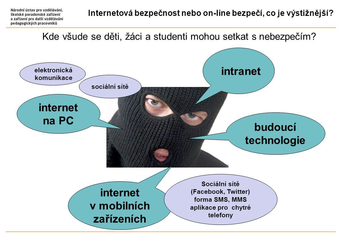 Internetová bezpečnost nebo on-line bezpečí, co je výstižnější? Kde všude se děti, žáci a studenti mohou setkat s nebezpečím? internet na PC intranet