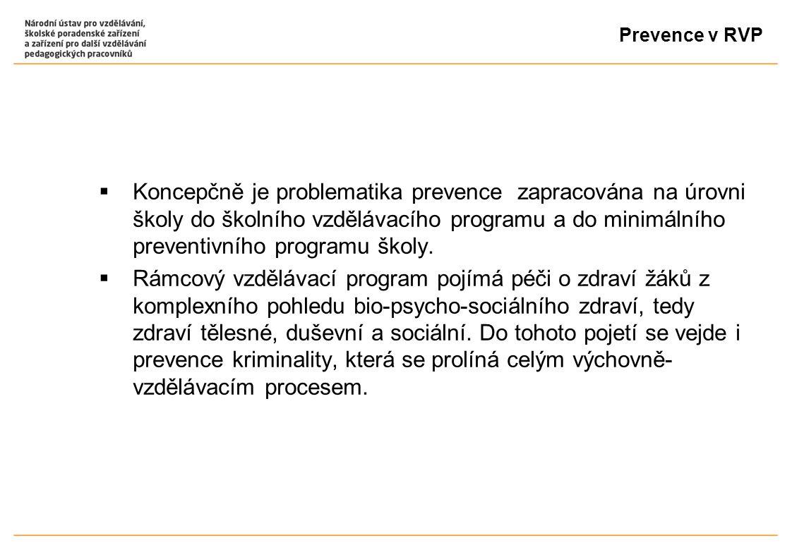 Prevence v RVP  Koncepčně je problematika prevence zapracována na úrovni školy do školního vzdělávacího programu a do minimálního preventivního progr
