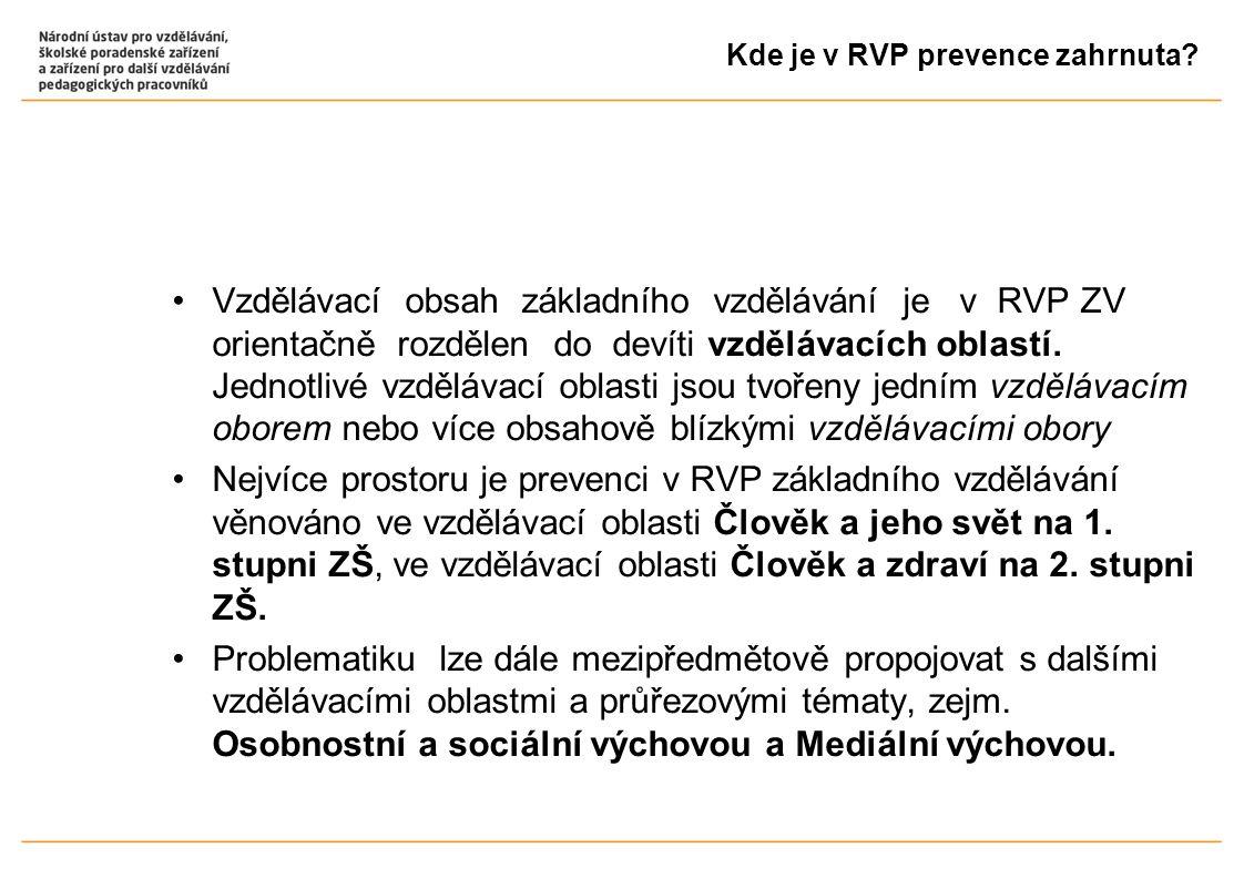Kde je v RVP prevence zahrnuta? Vzdělávací obsah základního vzdělávání je v RVP ZV orientačně rozdělen do devíti vzdělávacích oblastí. Jednotlivé vzdě