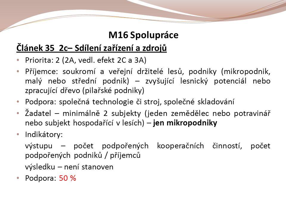 M16 Spolupráce Článek 35 2c– Sdílení zařízení a zdrojů Priorita: 2 (2A, vedl.