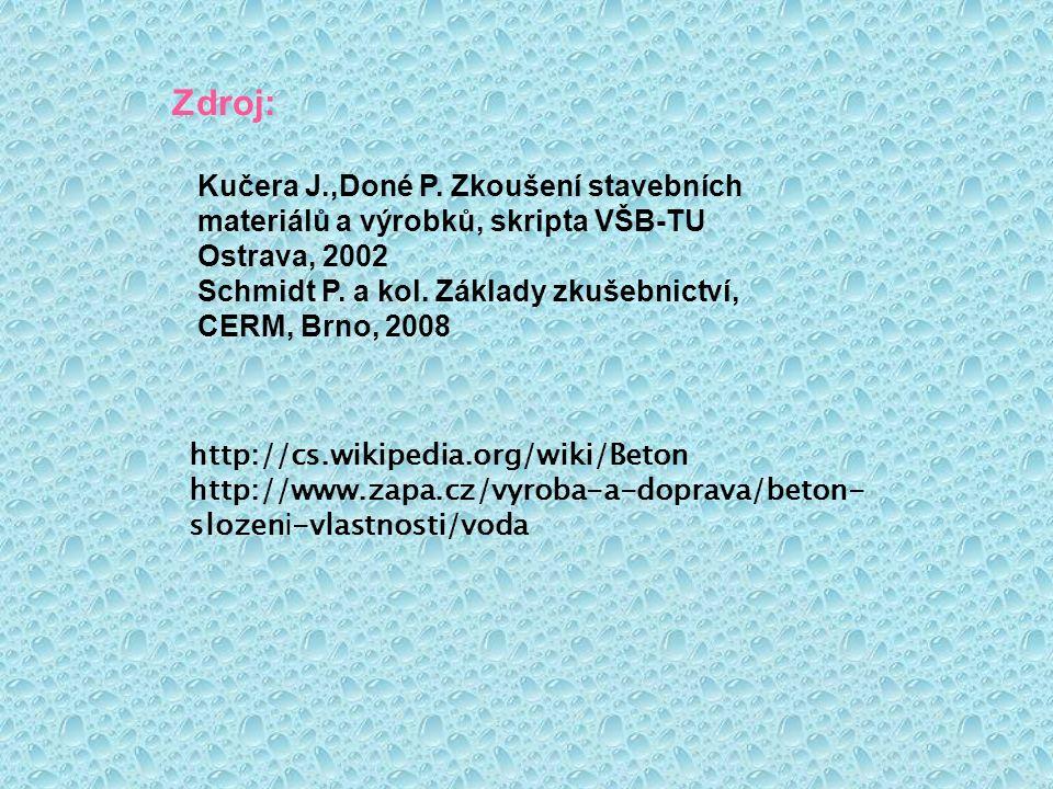 Zdroj: http://cs.wikipedia.org/wiki/Beton http://www.zapa.cz/vyroba-a-doprava/beton- slozeni-vlastnosti/voda Kučera J.,Doné P. Zkoušení stavebních mat