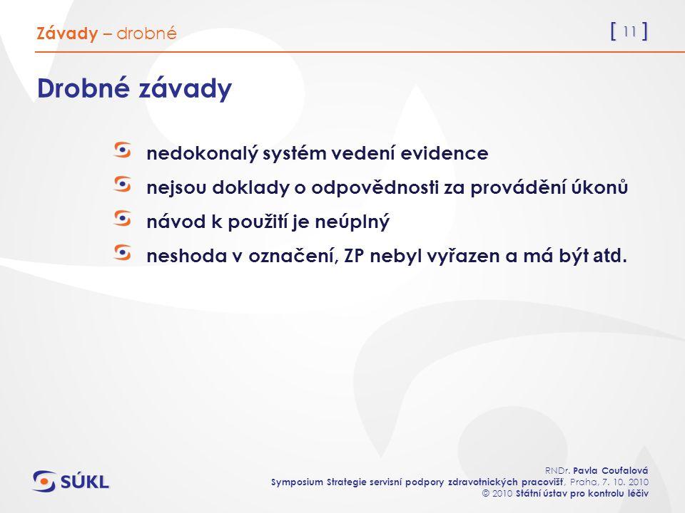 [ 11 ] RNDr. Pavla Coufalová Symposium Strategie servisní podpory zdravotnických pracovišť, Praha, 7. 10. 2010 © 2010 Státní ústav pro kontrolu léčiv