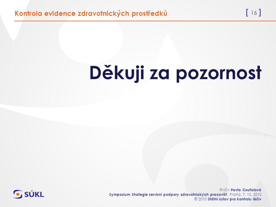 [ 16 ] RNDr. Pavla Coufalová Symposium Strategie servisní podpory zdravotnických pracovišť, Praha, 7. 10. 2010 © 2010 Státní ústav pro kontrolu léčiv