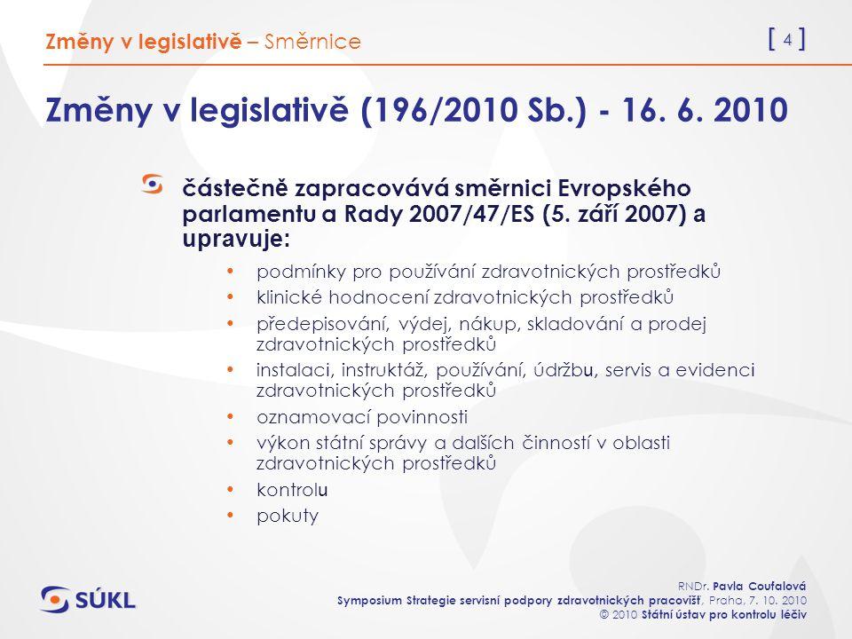 [ 4 ] RNDr. Pavla Coufalová Symposium Strategie servisní podpory zdravotnických pracovišť, Praha, 7. 10. 2010 © 2010 Státní ústav pro kontrolu léčiv Z