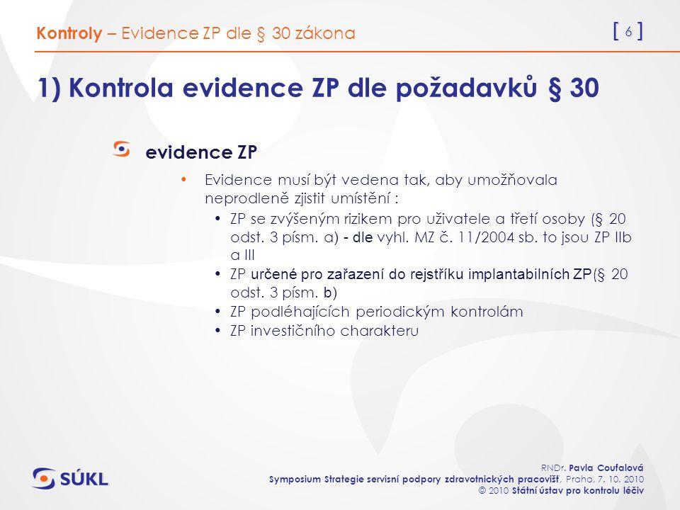 [ 6 ] RNDr. Pavla Coufalová Symposium Strategie servisní podpory zdravotnických pracovišť, Praha, 7. 10. 2010 © 2010 Státní ústav pro kontrolu léčiv 1