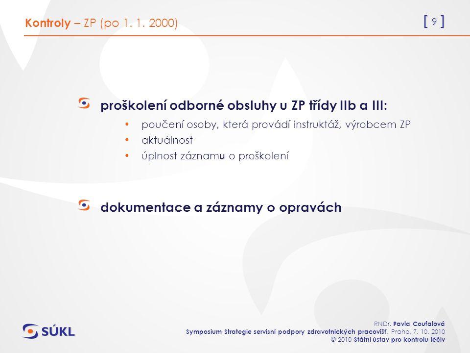[ 9 ] RNDr. Pavla Coufalová Symposium Strategie servisní podpory zdravotnických pracovišť, Praha, 7. 10. 2010 © 2010 Státní ústav pro kontrolu léčiv p