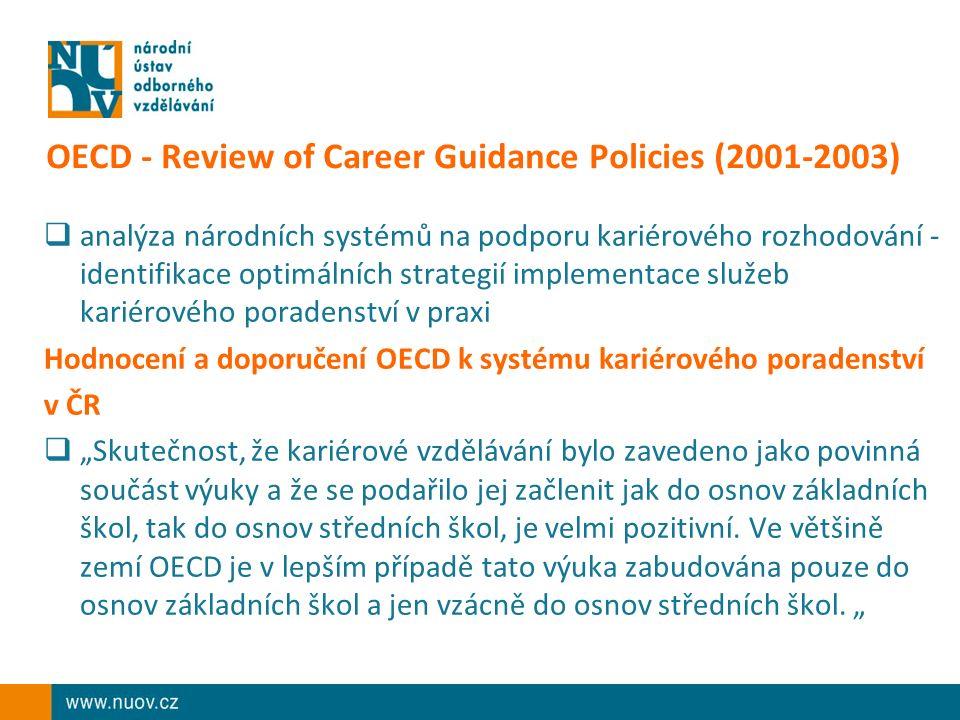 """OECD - Review of Career Guidance Policies (2001-2003)  analýza národních systémů na podporu kariérového rozhodování - identifikace optimálních strategií implementace služeb kariérového poradenství v praxi Hodnocení a doporučení OECD k systému kariérového poradenství v ČR  """"Skutečnost, že kariérové vzdělávání bylo zavedeno jako povinná součást výuky a že se podařilo jej začlenit jak do osnov základních škol, tak do osnov středních škol, je velmi pozitivní."""