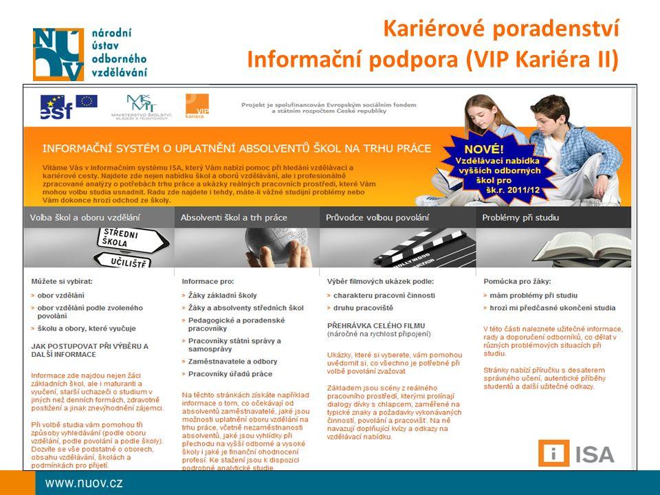 Kariérové poradenství Informační podpora (VIP Kariéra II)