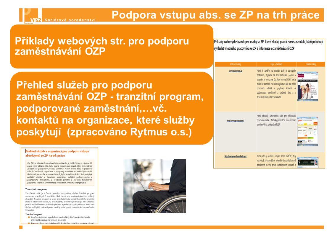 Podpora vstupu abs. se ZP na trh práce Příklady webových str.