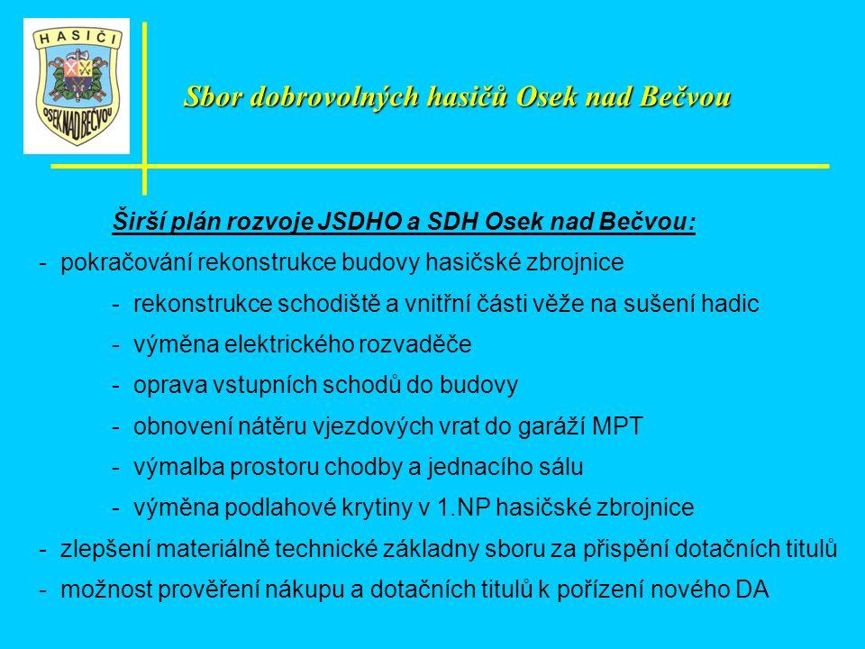 Širší plán rozvoje JSDHO a SDH Osek nad Bečvou: - pokračování rekonstrukce budovy hasičské zbrojnice - rekonstrukce schodiště a vnitřní části věže na
