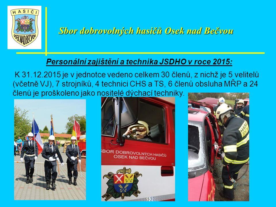 Personální zajištění a technika JSDHO v roce 2015: K 31.12.2015 je v jednotce vedeno celkem 30 členů, z nichž je 5 velitelů (včetně VJ), 7 strojníků, 4 technici CHS a TS, 6 členů obsluha MŘP a 24 členů je proškoleno jako nositelé dýchací techniky.