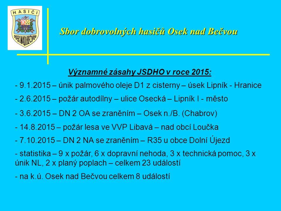 Významné zásahy JSDHO v roce 2015: - 9.1.2015 – únik palmového oleje D1 z cisterny – úsek Lipník - Hranice - 2.6.2015 – požár autodílny – ulice Osecká