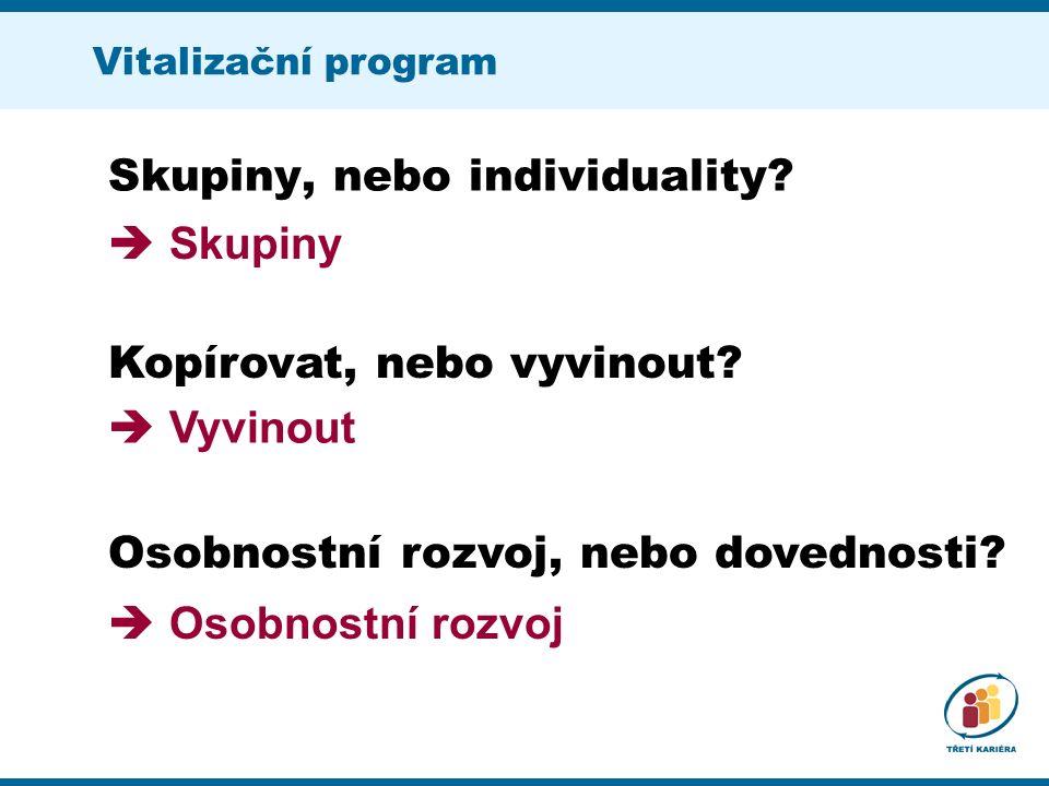 Vitalizační program Skupiny, nebo individuality. Kopírovat, nebo vyvinout.