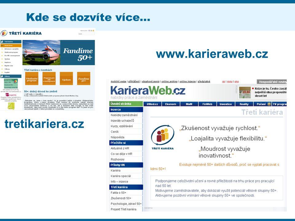 Kde se dozvíte více… tretikariera.cz www.karieraweb.cz