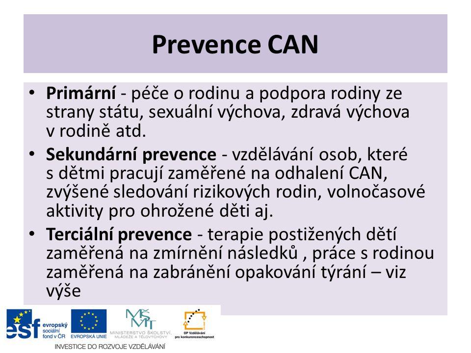 Prevence CAN Primární - péče o rodinu a podpora rodiny ze strany státu, sexuální výchova, zdravá výchova v rodině atd. Sekundární prevence - vzděláván