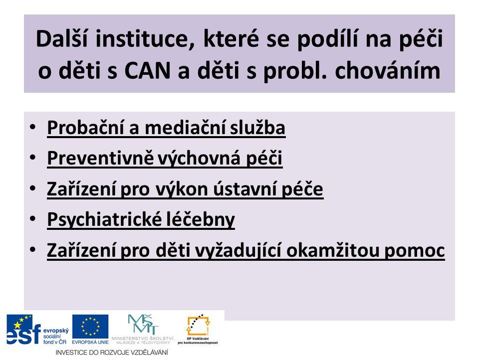 Další instituce, které se podílí na péči o děti s CAN a děti s probl. chováním Probační a mediační služba Preventivně výchovná péči Zařízení pro výkon