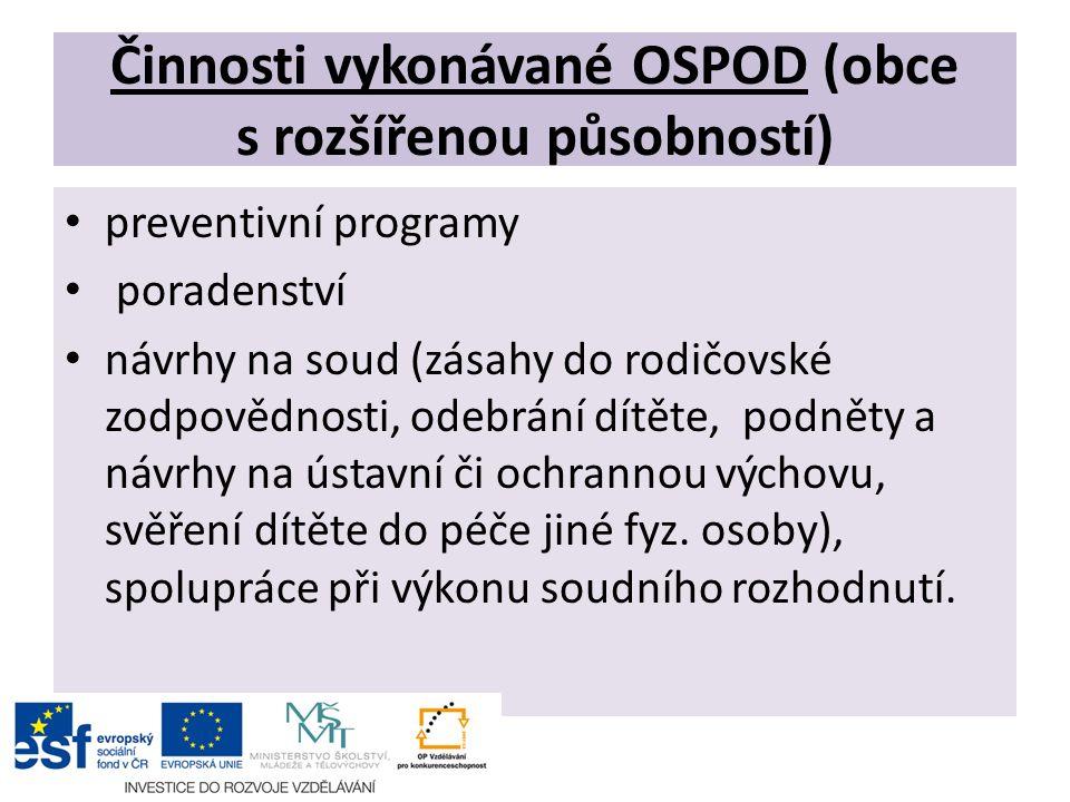 Činnosti vykonávané OSPOD (obce s rozšířenou působností) preventivní programy poradenství návrhy na soud (zásahy do rodičovské zodpovědnosti, odebrání