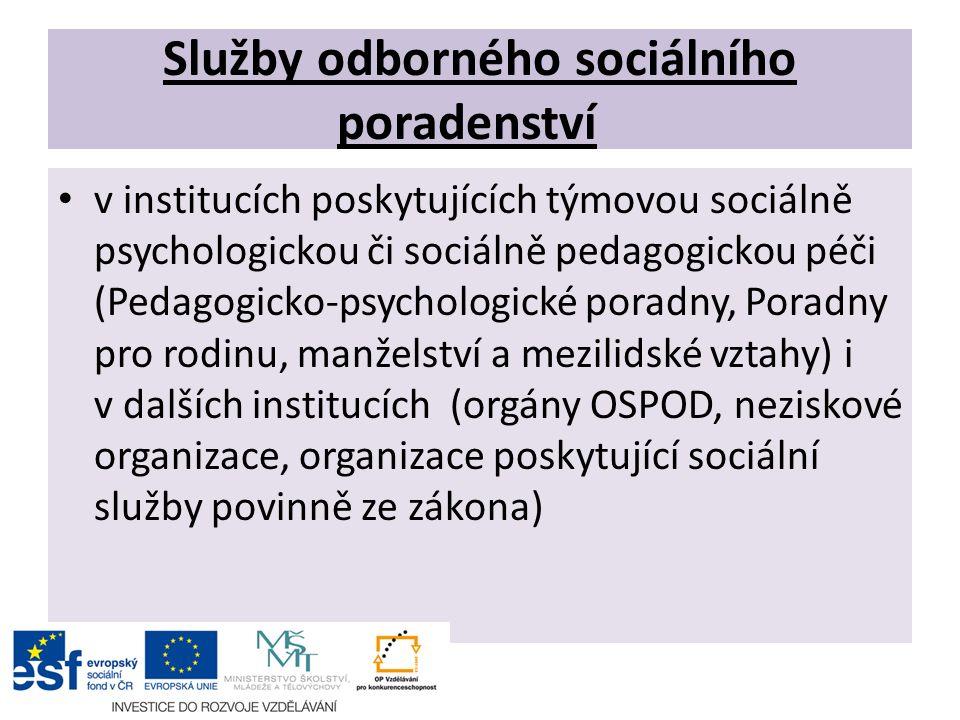 Služby odborného sociálního poradenství v institucích poskytujících týmovou sociálně psychologickou či sociálně pedagogickou péči (Pedagogicko-psychol