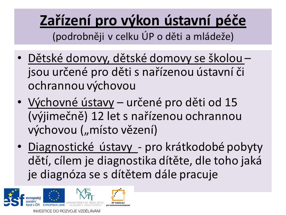 Zařízení pro výkon ústavní péče (podrobněji v celku ÚP o děti a mládeže) Dětské domovy, dětské domovy se školou – jsou určené pro děti s nařízenou úst