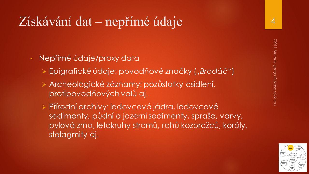 """Získávání dat – nepřímé údaje Nepřímé údaje/proxy data  Epigrafické údaje: povodňové značky (""""Bradáč"""")  Archeologické záznamy: pozůstatky osídlení,"""