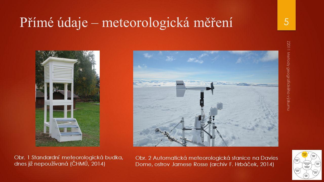 Obr. 1 Standardní meteorologická budka, dnes již nepoužívaná (ČHMÚ, 2014) Obr. 2 Automatická meteorologická stanice na Davies Dome, ostrov Jamese Ross