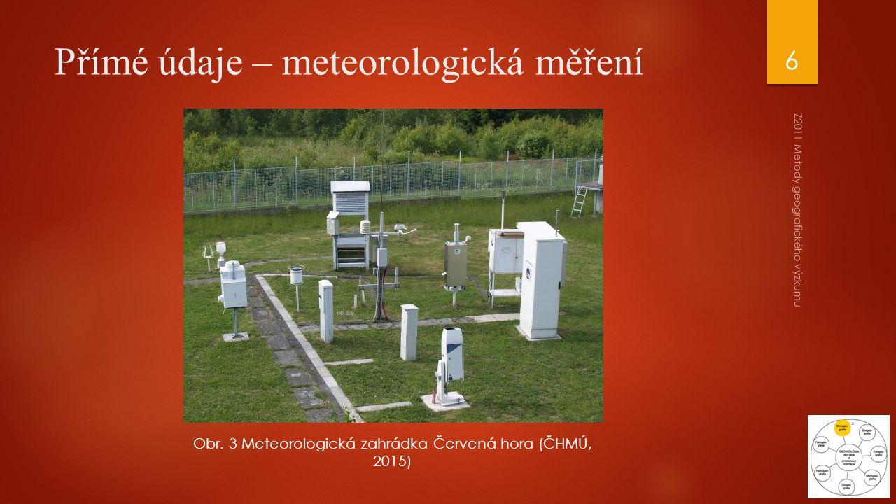 Z2011 Metody geografického výzkumu 6 Přímé údaje – meteorologická měření Obr. 3 Meteorologická zahrádka Červená hora (ČHMÚ, 2015)