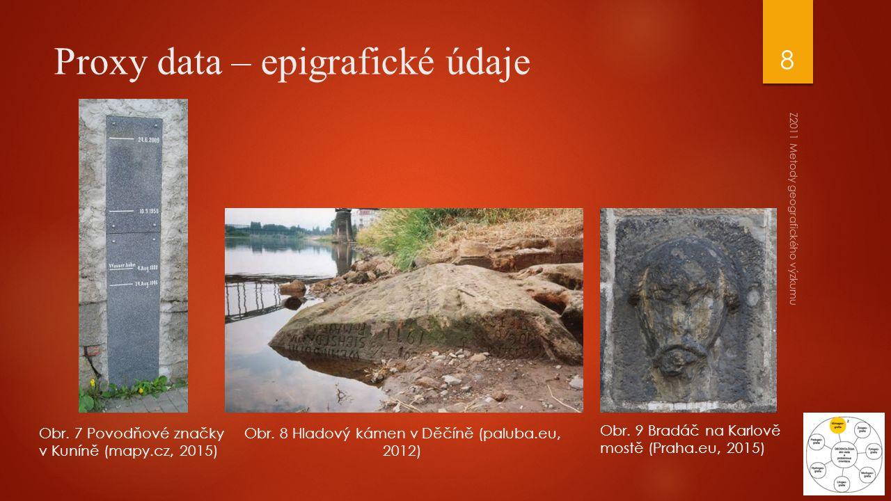 Z2011 Metody geografického výzkumu 8 Proxy data – epigrafické údaje Obr. 7 Povodňové značky v Kuníně (mapy.cz, 2015) Obr. 9 Bradáč na Karlově mostě (P