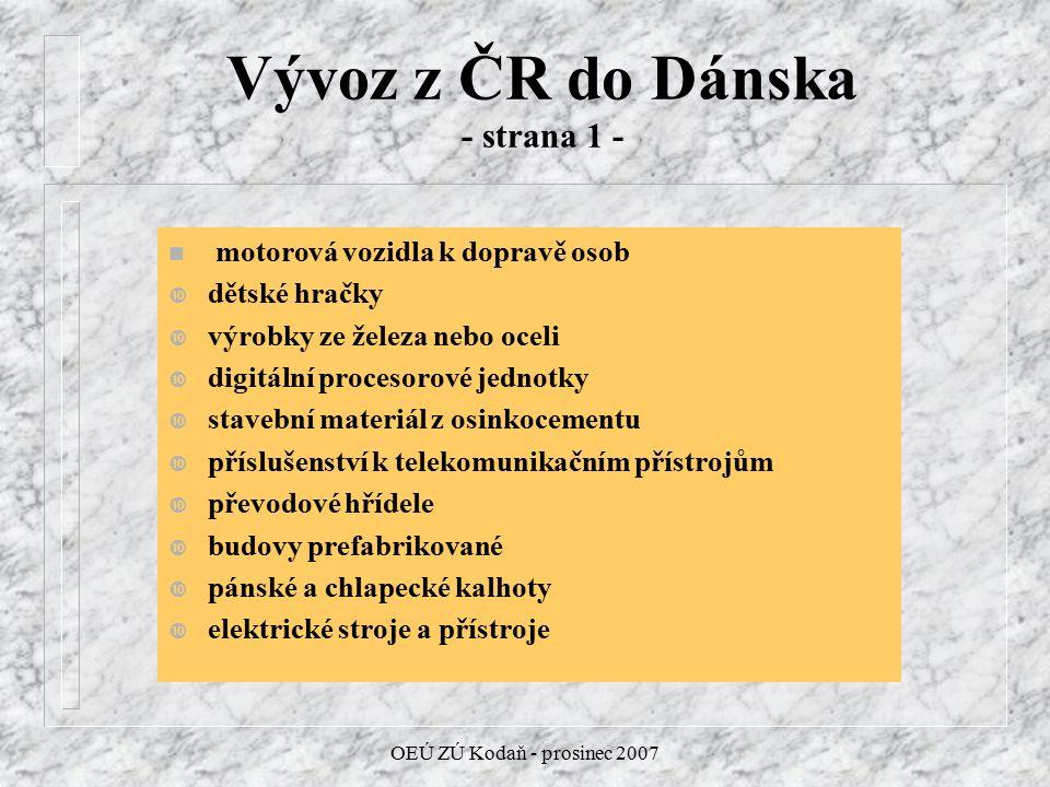 OEÚ ZÚ Kodaň - prosinec 2007 Vývoz z ČR do Dánska - strana 1 - n motorová vozidla k dopravě osob dětské hračky výrobky ze železa nebo oceli digitální